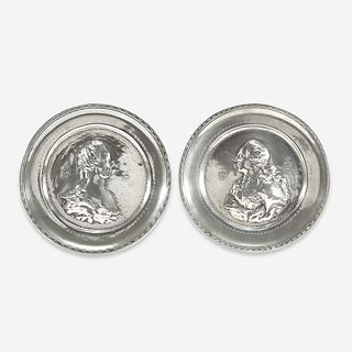 A Pair of Continental Royal Commemorative Pewter Plates, 18th century