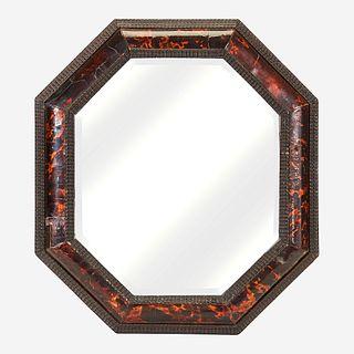 A Flemish Baroque Style Octagonal Ebonized Wood and Tortoiseshell Mirror*, 19th century