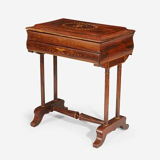 An English or Continental Neoclassical Satinwood Marquetry and String-Inlaid Rosewood Secrétaire*, Second quarter 19th century