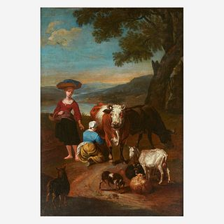 Attributed to Jan Frans van Bloemen (Flemish, 1662-1759), , Arcadian Landscape with Peasants and a Maid Milking Cow