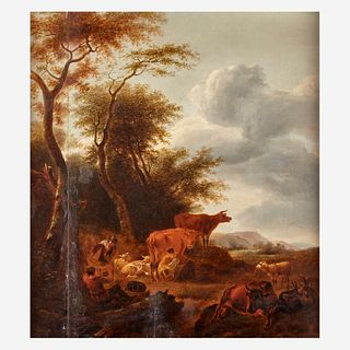 Manner of Paulus Potter (Dutch 1625-1654), , Herdsman with Cattle