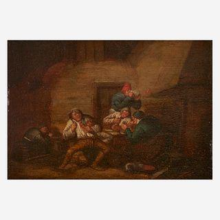 Follower of Adrian Jansz van Ostade (Dutch, 1610-1685), , The Drunken Trio in a Tavern