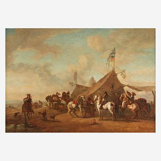 After Philips Wouwerman (Dutch, 1619–1668) | An 18th Century (French) Composition, , The Army Camp