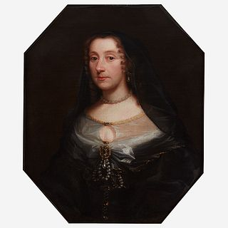 Attributed to Adriaen Hanneman (Dutch, C. 1601–1671), , Portrait of a Lady in Mourning Wearing a Pearl Necklace, Bust-Length