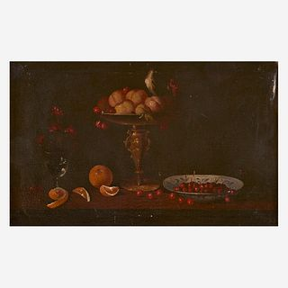 Dutch School (18th-19th Century), , Tabletop Still Life with Apples, Pomegranate and Vase of Flowers; together with a Companion