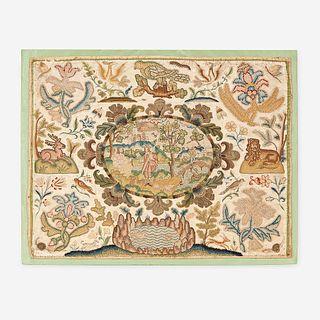 A James II/Charles II Stumpwork Embroidery Panel, Mid 17th century