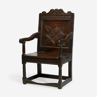A James II/Charles II Carved Oak and Elm Wainscot Chair, 17th century