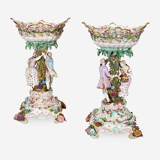 A Pair of Large Meissen Centerpiece Baskets on Stands, 1815-1860