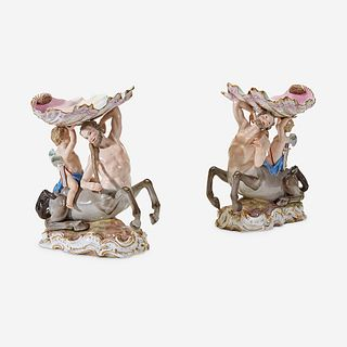 A Pair of Meissen Figural Compotes, 1815-1860