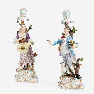 A Pair of Meissen Figural Candlesticks, 1815-1860