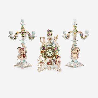 A Meissen Three-Piece Figural Clock Garniture, 1815-1860