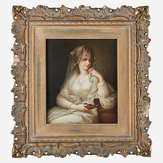 A KPM Style Painted Porcelain Plaque after Angelica Kauffmann (Swiss, 1741-1807), Portrait of a Lady as a Vestal Virgin, late 19th/e...