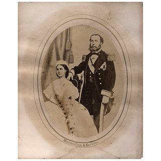 "UNIDENTIFIED PHOTOGRAPHER, Maximiliano y Carlota, Unsigned, Oval albumen on cardboard, 7 x 4.8"" (18 x 12.2 cm)"