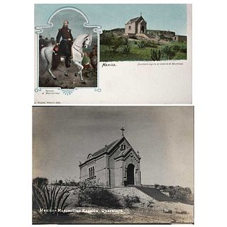 UNIDENTIFIED PHOTOGRAPHER, Maximiliano en Capilla de Querétaro, Unsigned, Postcard and silver nitrate photography, Pieces: 2
