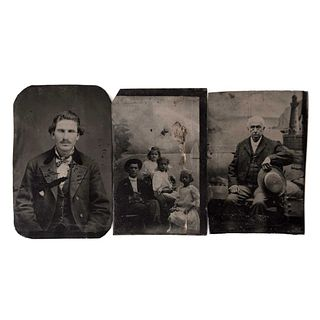 UNIDENTIFIED PHOTOGRAPHER, Studio portraits, Unsigned, Tintypes, Different sizes, Pieces: 3