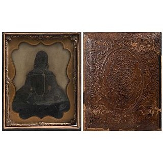 """UNIDENTIFIED PHOTOGRAPHER, Dama Mexicana, Unsigned, Intervened ambrotype, 6.4 x 4.7"""" (16.5 x 12 cm) with case"""