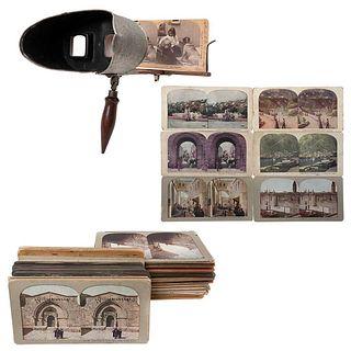VISOR Y VISTAS ESTEREOSCÓPICAS, Vistas del mundo, Unsigned, Stereoscopic views and visor, Pieces: 99, 1 visor and 98 views