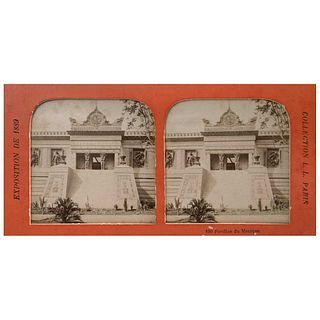 "UNIDENTIFIED PHOTOGRAPHER, Exposición de 1889 en París, Pavillon de Mexique, Unsigned, Sterescopic views, 3.3 x 7"" (8.6 x 17.8 cm)"