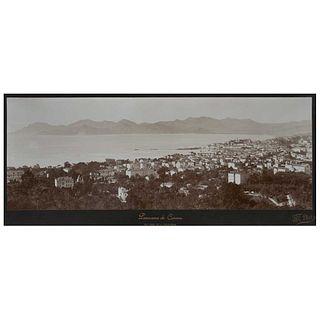 "G.T. PHOTO, Panorama de Cannes, Vue Prise de la Californie, Unsigned, Albumin on cardboard, panoramic, 8.2 x 10.5"" (21 x 26.8 cm)"