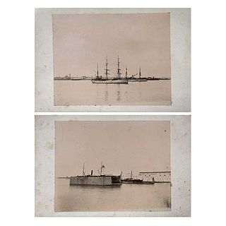 "ALFREDO SALDÍVAR, Puerto de Veracruz, Unsigned, Albumen on cardboard, 3.6 x 4.7"" (9.2 x 12 cm) each, Pieces: 2"