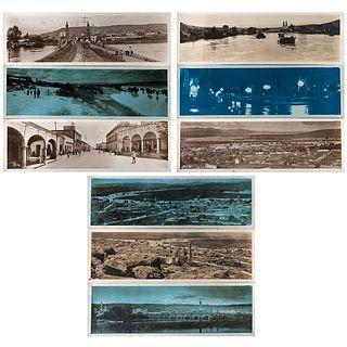 "FOTO MARTÍN, La Piedad, Michoacán, 1926, Signed from negative, Silver / gelatin, Panoramic, 3.5 x 10.9"" (9 x 27.8 cm) each, Pieces: 9"