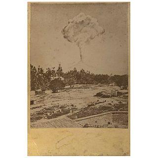 "UNIDENTIFIED PHOTOGRAPHER, Volcán de Colima, Erupción del 26 de febrero de 1872, Unsigned, Albumen on cardboard, 5.2 x 3.9"" (13.4 x 10 cm)"