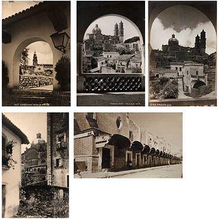 HUGO BREHME & UNIDENTIFIED PHOTOGRAPHERS, Vistas de México: Taxco, Cuernavaca y Puebla, Unsigned, Postcards, Pieces: 5
