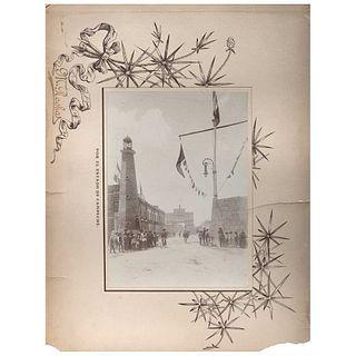 """M. ROCHA, Campeche, Festividades 15 de Septiembre, 1899, Unsigned, Albumen on decorated cardboard, 6.6 x 4.7"""" (17 x 12 cm)"""