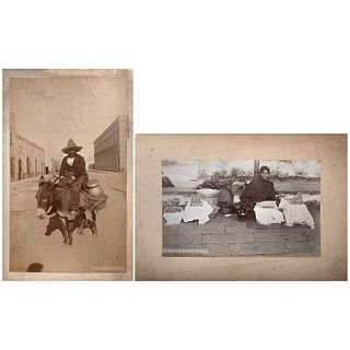 UNIDENTIFIED PHOTOGRAPHER, Tipos Mexicanos: a) Mexican market woman b) A mexican milkman, Unsigned, Albumen on cardboard, Pieces: 2