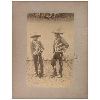 "ABEL BRIQUET, Guardias Rurales, from the series Vistas Mexicanas, Unsigned, Albumen on cardboard, 7.4 x 4.7"" (19 x 12 cm)"