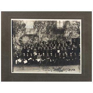 "E. PORTILLA (México), III Congreso Panamericano del Trabajo, Presidente Plutarco Elías Calles, Firmada, Vintage print, 6.4 x 8.4"" (16.5 x 21.5cm)"