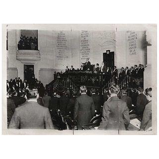 """JOSÉ MENDOZA (México), Venustiano Carranza presidiendo la Cámara de representantes, Unsigned, Reprography, 4.9 x 6.9"""" (12.6 x 17.7 cm)"""