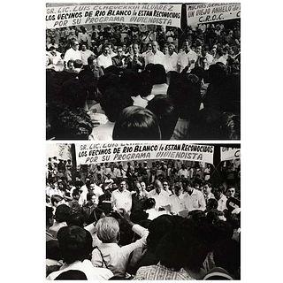 "GUILLERMO CASTRO MORALES, Presidente Luis Echeverría en mitin, Unsigned, Vintage print, 4.9 x 6.9"" (12.5 x 17.7 cm) each, Pieces: 2"