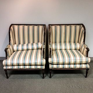 Pair of Louis XVI-style Upholstered Walnut Bergeres