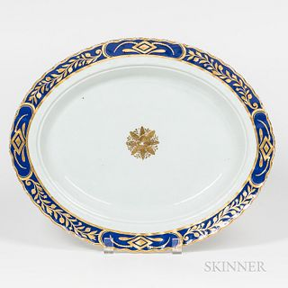 Cobalt- and Gilt-rimmed Oval Platter