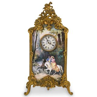 Antique Viennese Bronze & Enamel Clock
