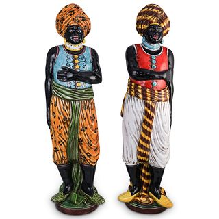 (2 Pc) Pair of Italian Majolica Glazed Blackamoor Figures