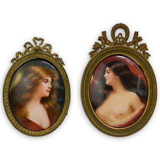 (2 Pc) Antique Erotic Vienna Framed Porcelain Plaque