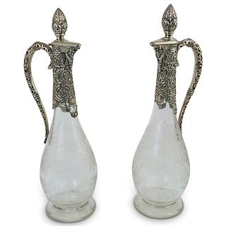 Pair Of Hand Etched Crystal & 800 Silver Decanters