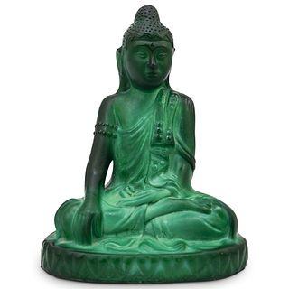 Vintage Malachite Glass Buddha