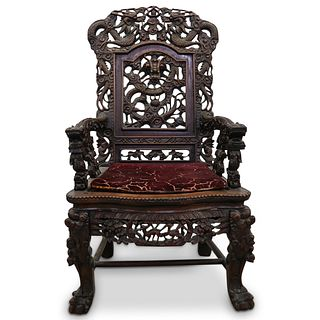 Large Chinese Carved Throne Chair