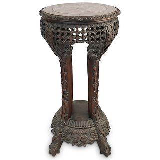 Antique Chinese Carved Wood Taboret Stand Table