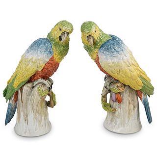 Pair Of Dresden Porcelain Parrots