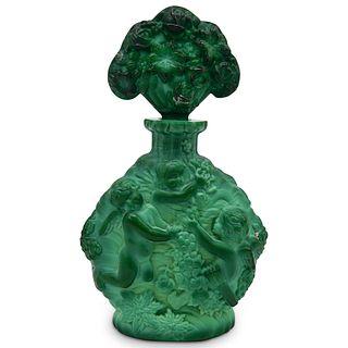 Vintage Malachite Glass Perfume Bottle