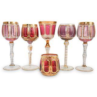 (6 Pc) Grouping Moser Bohemian Crystal Glasses Set
