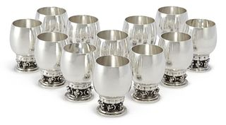 A Set of Twelve Extra Large Georg Jensen Sterling Silver Grapes Cups #296C