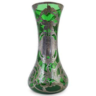 Silver Overlay Art Nouveau Glass Vase