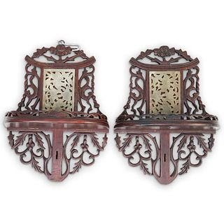 Chinese Carved Jade and Rosewood Wall Brackets