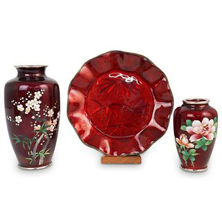 (3 Pc) Japanese Cloisonne Table Articles