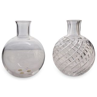 (2 Pc) Pair of Baccarat Crystal Flower Vases